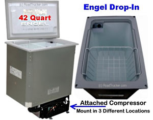 Engel Drop In Counter Top ACDC Refrigerator Freezer with Attached Compressor MB40V-H