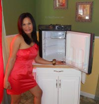 Marissa Showing the new Engel Built-in Fridge/Freezer SR48F