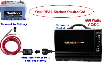Wave Box AC/DC Portable Microwave 12 VDC/120 VAC with Power Port Diagram - PNP-411