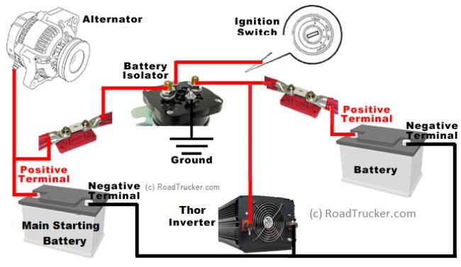 automatic smart battery isolator thor 85 amp 12 volt rh roadtrucker com 12 Volt Battery Wiring Diagram 24 Volt Battery Bank Wiring