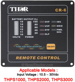 Thor 10.5 - 30Vdc Pure Sine Wave Inverter Remote Switch THR6