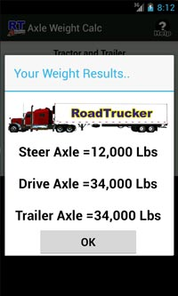 Screen Shot of Axle Weight App
