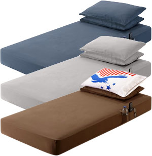"Jake′s Cab 28.5"" x 78"" x 7.5"" Silver Gray and Chocolate Brown Bed Sheet Set for Peterbilt"