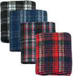 "50"" x 78"" All Purpose Brushed Plaid Oversize Throw Assortment Min=12"