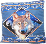 Earthragz – Sherpa Pillow with Wolf Design - PISHEWOL