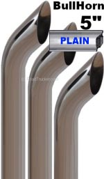 "5"" Bull Horn Plain Exhaust Chrome Stacks"