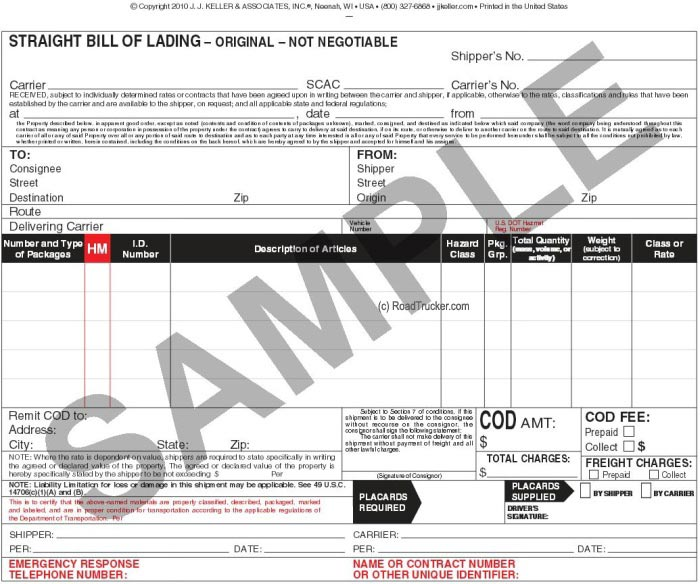 Doc693934 Straight Bill of Lading Template Free Doc12751650 – Free Bill of Lading Template