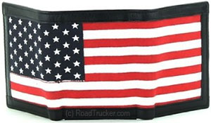DAS - RFID Leather Trifold Wallet with American Flag Print - BCO503ZL