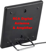 Sleek Indoor Digital Basic Flat Antenna with Amplifier and Coax Cable Black - ANT1450B