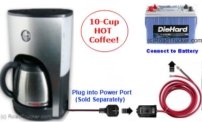 12 Volt 10 Cup Coffee Maker with Power Port Diagram - PNP-303A