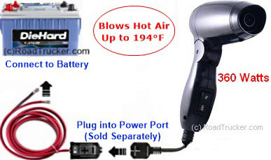 360 Watt 12 Volt Hair Dryer with Power Port Diagram - PNP-210A