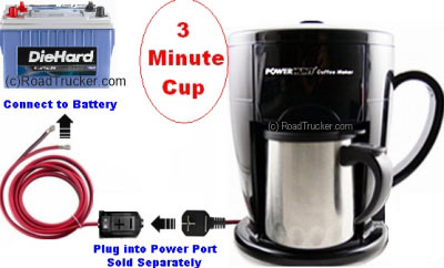 12 Volt 3 Minute Personal Coffee Maker with Power Port Diagram - PNP-301A