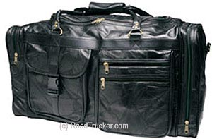 "RoadPro - 26"" Patchwork Leather Travel Bags, Black - PLB-004"