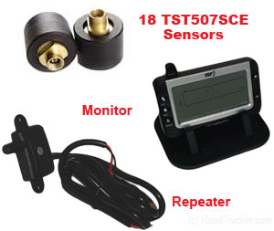 18 Tire Sensors TPMS for Standard Tractors/Trailers