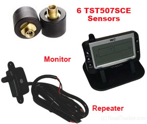 6 Tire Sensors TPMS for Tractors - Super Singles